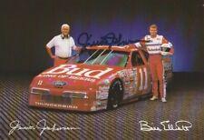 1992 Junior Johnson signed Bill Elliott Budweiser Ford T-Bird NASCAR postcard
