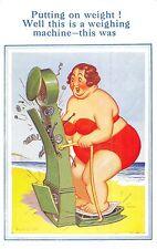 POSTCARD  COMIC   DONALD  McGILL   Fat  Lady  Weighing  machine