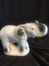 Grey Ceramic Elephant With Trunk Up Figurine Statue Desk Art Vintage