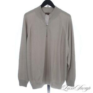#1 MENSWEAR Loro Piana 75/25 Cashmere Silk Mocha 1/2 Zip Roadster Sweater 56 #2