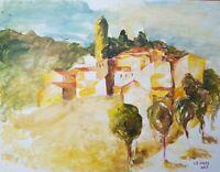 Lysiane D. COSTE technique mixte sur papier dessin paysage jaune 50/65cm 2005