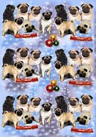 Pug Dog Christmas Wrapping Paper By Starprint