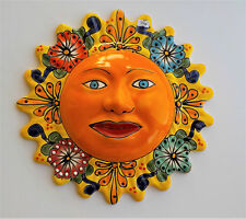 "MEXICAN POTTERY SUN FACE WALL SCULPTURE 13 1/2"" DIAMETER"