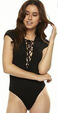 Black Lace up laced front Body suit ribbed Lightweight Stretchy LAYERING TOP S