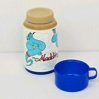 Vintage Disney Aladdin Lunchbox Thermos And Lid Blue Genie Cartoon Plastic Cup