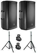 2X JBL EON 615 Active DJ/Club Powered Speakers 1000W Amplified w/Stands & Cables