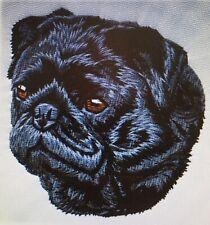 Pug Black, Hand Towel, Embroidered, Custom, Personalized, Dog