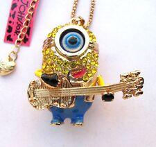 Betsey Johnson shiny yellow crystal Cute rock cartoon pendant Necklace#305L