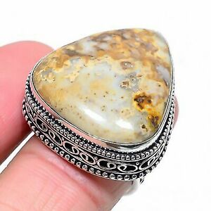 Ocean Sea Jasper Gemstone Ethnic 925 Sterling Silver Jewelry Ring Size 8