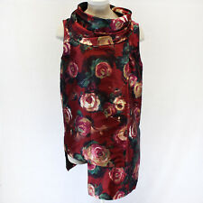 NEW  Bryn Walker Cowl Tunic Red Floral Print Dress Blouse XL Fits 1X Made in USA