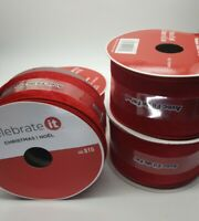 Set of 4 Celebrate It Christmas Ribbon Wired Red Velvet 2 1/2 in x 5 Yd New