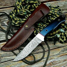 Combat Knife Fixed Blade Hand Forged Damascus Steel Handmade Mini Pocket Rescue
