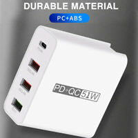 51W 4 Port QC3.0 Fast Charging USB Type C Hub Wall Charger Adapter Quick Charge