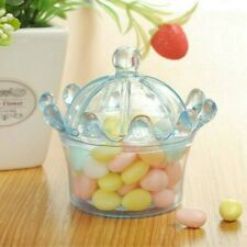 12 X Crown Shape Sweet Candy Jars Plastic Transparent Wedding Party Gift Box