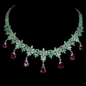 Pear Ruby 12x9mm Emerald 14K White Gold Plate 925 Sterling Silver Necklace 16.5