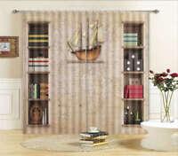 Sailing Vessel Map 3D Curtain Blockout Photo Print Curtains Drape Fabric Window