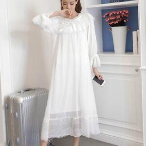Womens Girls Lolita Sleepwear Ruffle Lace Nightdress Victorian Vintage Nightgown