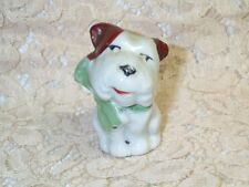"""Vintage Bull Terrier White Brown Porcelain Puppy Dog Figurine 2"""" Tall Cute Face"""