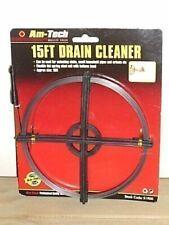 AmTech Drain Cleaner 15ft Flexible Spring Steel Head Sinks Drains Coil UK SELLER