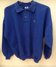 Vtg APPLE Mac Computer Rainbow LOGO Wek Polo Sweatshirt •Blue •Sz 1 •COTTON •EUC