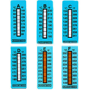 Racetech Thermal Temperature Indicator Strips (Pack of 10) Race / Rally