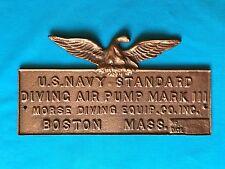 US NAVY Scuba Helmet Dive Air Pump Brass Plaque Eagle MORSE Diving Boston Mass