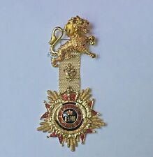 Butler and Wilson Gold Crystal Glotter Lion Medal Military Army Brooch  NEW