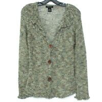 BCBGMAXAZRIA Womens Cardigan Sweater Crochet Knit Button Green Medium I2