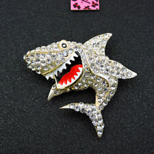 Shark Charm Women's Brooch Pin Betsey Johnson Crystal White Cute