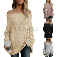 UK Women Sexy Off Shoulder Knitted Sweater Winter Ladies Long Sleeve Tops Jumper