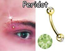 1 x Gold Pl Peridot Gem Eye Eye bar Eye Curved bar Balls Ring FREE Aussie Post*