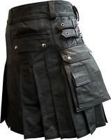 Mens Real Black Leather Gladiator Pleated Utility Kilt LARP - (K5)