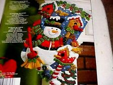 Bucilla Snowman with Birds Stocking Kit Christmas Cardinal Felt Birdhouses 18""