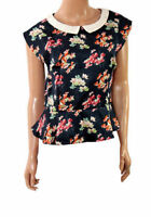 Ladies Navy Blue Floral Vintage Peplum Formal Party Evening Blouse Top Size 8 10
