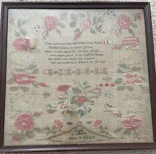 antique sampler cross stitch 1831 Eliza T. Wright 17 x 17 Religious
