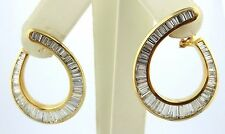 18Kt Baguette Diamond Yellow Gold Swirl Earrings 5.54Ct