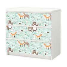 nikima - 011 Möbelfolie für IKEA MALM - Waldtiere - 3 Schubladen Aufkleber Stick