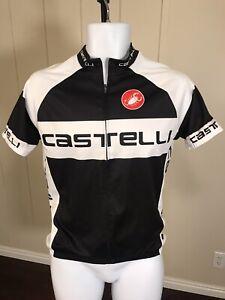 Castelli Black White Big Company Logo All Over Print Mens Cycling Bike Jersey M