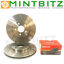 Ford Focus mk2 ST225 2.5 Turbo Front Dimpled & Grooved Brake Discs & Mintex Pad