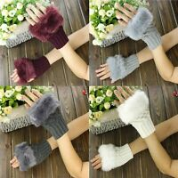 Women Knitted Wool Winter High Quality Faux Rabbit Fur Gloves Wrist Fingerless