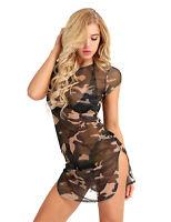 Sexy Damen Minikleid Transparent Camouflage Kleid Schlitz Bodycon Nachtkleid