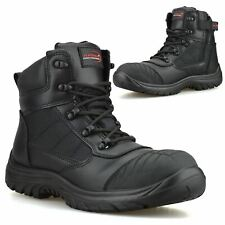 Mens Leather Safety Steel Toe Cap Zip Up Combat Work Ankle Hiker Boots Shoe Size