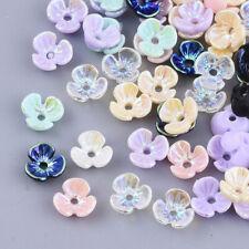 50 Harzperlen 6x6mm  Perlenkappen Spacer Blume Blüte Kelch Harz Bunt  - 2937