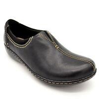 Clarks Womens Ashland Joy Leather Slip On Shoe Black Wedge Heel Sz 11W