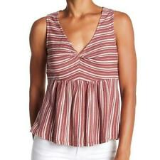 Lucky Brand Women's Size S Stripe Peplum Ruched Knot Front Dusty Rose Tank Top