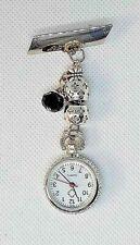 black drop beading and patterned silver nurse fob watch uniform  brooch