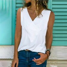 Summer Womens Casual V-Neck T Shirt Sleeveless Party Tank Top Floral Blouse
