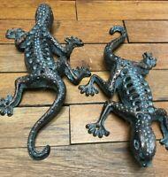 "2 Lizard Gecko Reptile 10"" climbing Wall Fence rustic cast iron Rock Garden pool"