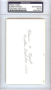 Elmer Eggert Authentic Autographed Signed 3x5 Index Card Boston Red Sox 83862852