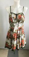 JOE BROWNS Summer Dress Orange & Green On White Floral Strappy Fit & Flare UK12
